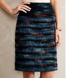 Anthropologie Feathered Wool Pencil Skirt by Maeve
